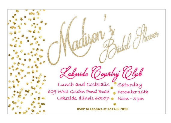 Hot Pink and Gold - Bridal Shower Invitation - Wedding ...