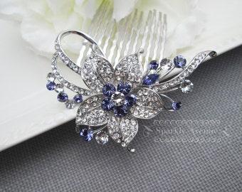 Wedding Bridal Hair Comb Tanzanite Bridal Hair Comb Flower Hair Accessory Leaf Hair Clip Vintage Hair Comb Purple Crystal Swarovski Nora