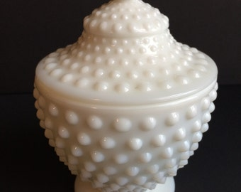 Vintage FENTON Hobnail Milk Glass Candy Dish with Lid