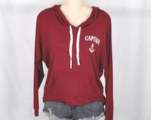 Captain Anchor- Womens Hoodie Sweatshirt, Burgundy, Womens Street Style, Brandy Melville, Hipster, Sports Wear, Tumblr, Lazy, Fast Shipping