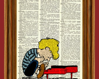 "Schroeder playing piano from Charlie Brown ""Peanuts"" Upcycled Dictionary Art Print Poster"