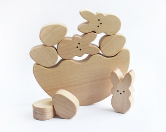 Easter Bunny Egg  Balancing toy - Wooden game - Easter Basket - Educational balancing set - Wooden Toy