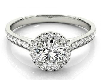 Forever One Moissanite & Diamond Halo Engagement Ring 14k White Gold, Moissanite Engagement Rings USA, UK, Australia, Anniversary Gifts