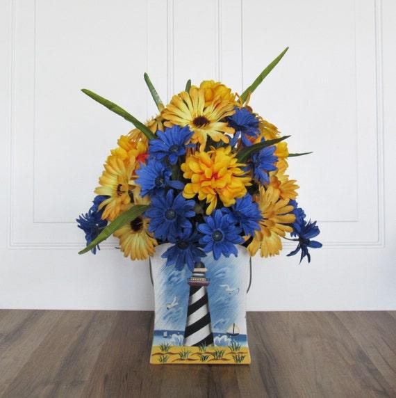Lighthouse Artificial Flower Centerpiece Blue And Gold