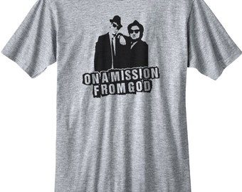 Blues Brothers Shirt T New Mission From God Belushi Aykroyd Jake Elswood SNL Movie Funny Adult Tee