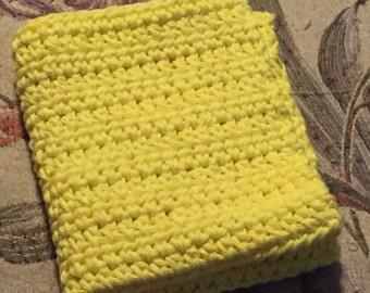 Crocheted Dishcloth, Yellow