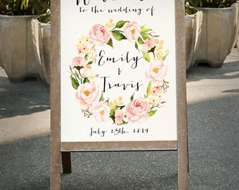 Printable Wedding Sign, Welcome Wedding Sign, Floral Wedding Sign, Reception Sign, Customized Sign, Bohemian Wedding Sign, Custom sign