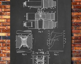 Artificial Diamond Patent Print Art 1960