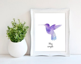 Hummingbird Print, Watercolor Print, Quote Print, Bird Print, Watercolor Poster, Digital Print, Inspirational Quote, Wall Art, Home Decor