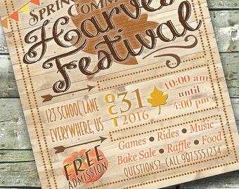 Wooden Harvest Festival ~ FALL FEST ~ Church or Community Event ~ 5x7 Invite ~ 8.5x11 Flyer ~ 11x14 Poster ~ 300 dpi Digital Invitation