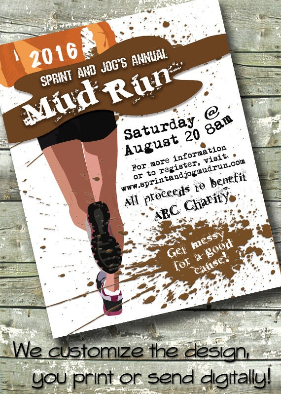 Mud Run Fun Run Race Fundraiser 5x7 Invite 8 5x11 Flyer