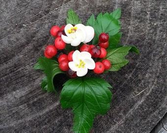 Red Wedding Buttonhole - Cold Porcelain Flower - Handmade Buttonhole - Viburnum Buttonhole - Wedding Flower Buttonhole - Bridal Corsage