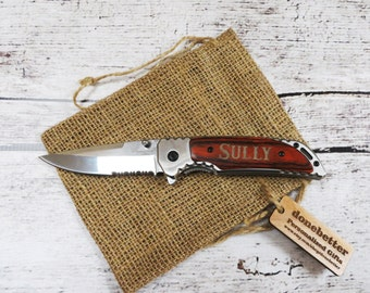 Personalized Pocket Knife with Wood Handle, Groomsmen Gift, Best Man, Fathers day, Gifts for Men, Sportsman Knife, Camping, Hunting, Fishing