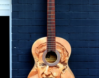 Jerry Lee Lewis. Painted guitar Pyrography. Acoustic guitar. Wood burned