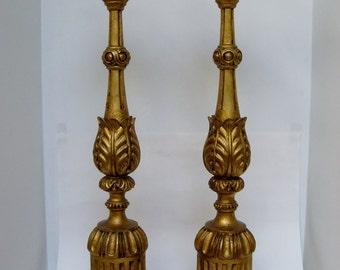 Italian Candlestick Lamps, Pair