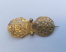 Antique Victorian double watch cock brooch made from Georgian gilt metal watch parts. Antique Steampunk pin.