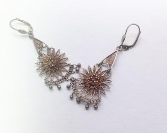 Vintage filigree silver earrings . Vintage filigree flower drop earrings.