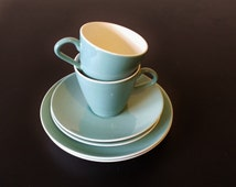 2 Poole Trios Teacups Saucers and Side Plates, Pair of Vintage Poole Pottery Coffee Cups, Dark Aqua Blue. English china. Afternoon tea