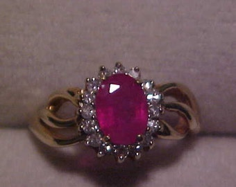 Vintage RUBY and Diamond Dinner Ring in Yellow gold FREE SHIPPING & ins.