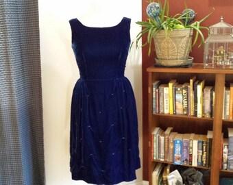 vintage velvet blue 60's dress, holiday dress, party dress