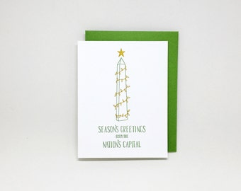 Washington DC Christmas Card // letterpress christmas card, holiday card, season's greetings, washington monument, district of columbia