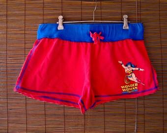 90s Vintage DC Comic Book Wonder Woman Justice League Pj Nerd Hipster Shorts Size 14 Medium-Large