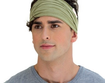 ENSO Classic Safari Green Men's Headband. Best Selling Green Headband for Men. Mens Exercise Sweatband Made From the Finest Organic Cotton.
