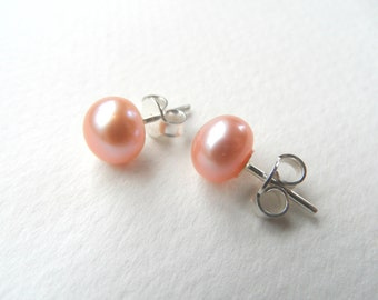 Freshwater pearls earrings, peach freshwater pearl stud earrings, pink freshwater pearls earrings, freshwater pearls stud earrings
