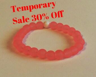 30% Off! Salmon Pink 8mm Womans Stretch Glass Bracelet Dainty Bohemian Plus Size Beaded Lokai Stacking Abundance Stackable Woman Gift Idea