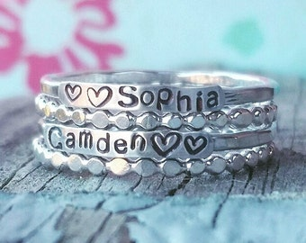 2mm Sterling Silver, Stackable Name Rings, Stackable Mother's Rings, Layered , Stackable, Two Name Rings, Name Rings Stackable, Gift for Mom