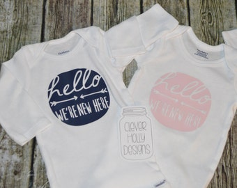 "Twin Girls, Twin Boys, Twins Onesie set, Twins Bodysuit set ""Hello, We're New Here"" (twin babies or triplets) [twins gift ideas, unisex]"