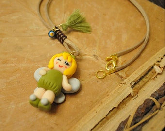 Chibi tinkerbell Disney polymer clay suede necklace