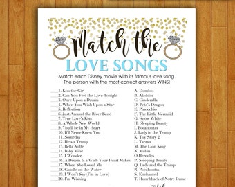 Bridal Shower Game Download - Match the Love Songs - Baby Blue and Gold - Instant Printable Digital Download - Disney Songs Glitter Confetti