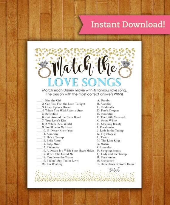Bridal Shower Game Download Match The Love Songs Baby Blue