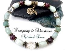 ATTRACT,PROSPERITY,ABUNDANCE,Energy,Healing Crystal,Reiki,Stretch Bracelet,Bronze,Jade,Luck,Angel Charm,Genuine Gemstone Description,Gift Ba