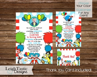 PRINTABLE DR SEUSS Invitation- Dr Seuss Birthday Party Invite- Dr Seuss Baby Shower- Doctor Seuss Party
