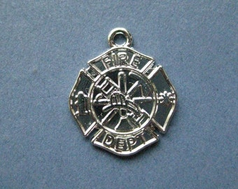4 Fire Department Charms - Fireman Charms - Firefighter Charm - Fireman - Fire Department-  Bright Silver - 20mm x 23mm  --(No.119-10051)
