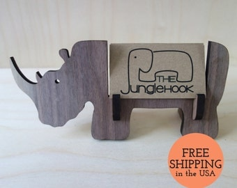 Rhino business card holder for desk - great handmade office gift or rhino gift for anyone who needs to organize tiny flat things