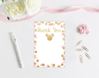 Minnie Mouse Pink and Gold Thank You Card