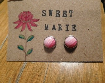 """Cabochons"" pink earrings."