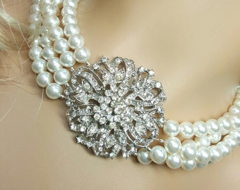 Swarovski Pearl Statement Necklace, Breakfast at Tiffany's Wedding Necklace, Vintage Audrey Hepburn, Holly Golightly, Old Hollywood Glamour