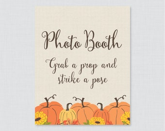 Pumpkin Photo Booth Printable Sign - Fall Pumpkin Bridal Shower Photo Booth Sign - Rustic Autumn Wedding Shower Photo Station Sign - 0019