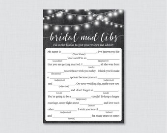 Chalkboard Bridal Shower Mad Libs Game - Printable Rustic Bridal Shower Madlibs - Chalkboard Bridal Advice Game Cards 0005
