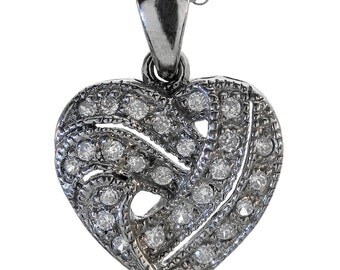 Heart Necklace In 14k White Gold With Diamond Accents And Milgrain Decoration