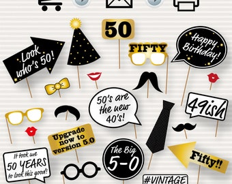 50th Birthday Party Printable Photo Booth Props - Glasses, Hats, Ties, Lips, Mustaches, Speech - INSTANT DOWNLOAD - Printable Birthday Props