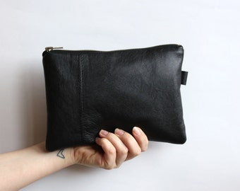 Reclaimed Leather Black Clutch // Monogram Clutch // Evening Bag // Zipper Pouch // Custom Monogram