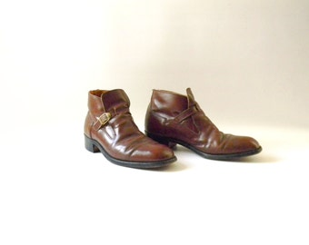 Men's Vintage Short Leather Boots / Size 10