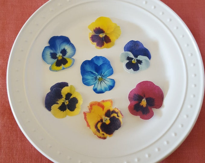 Edible Pansy Cake, Cupcake & Cookie Toppers - Wafer Paper or Frosting Sheet