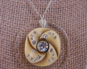 Celluloid Rhinestone Lucite Button Pendant Sterling Necklace