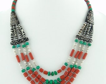 Turquoise and Coral, Coral Beads, Bone Jewelry, Himalayan Jewelry, Unique Jewelry Findings